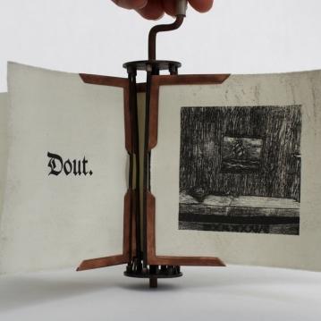 Ezaak Schliezak, 2013, 8 1/4″ x 12″ x 11 3/4,″ Rotating Book: Lithograph, Intaglio, Copper, Silver